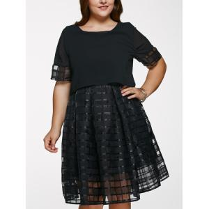 Scoop Neck Plus Size Ball Gown See-Through Dress - Black - Xl