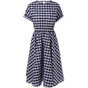 Casual Plaid Print Fit and Flare Dress - Checked - S