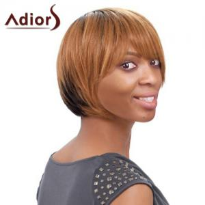 Short Side Bang Straight Mixed Color Women's Faddish Adiors Synthetic Hair Wig