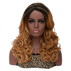 Long Side Parting Curly Mixed Color Women's Fashion Synthetic Hair Wig
