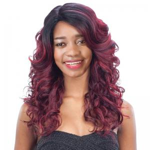Long Side Parting Curly Black Mixed Wine Red Women's Fashion Synthetic Hair Wig - Colormix - 14inch