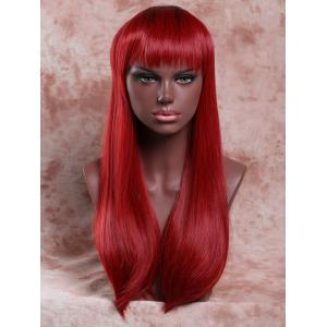 Long Elegant Full Bang Straight Ombre Color Women's Synthetic Hair Wig