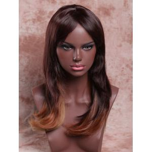 Long Elegant Side Bang Tail Adduction Mixed Color Women's Synthetic Hair Wig