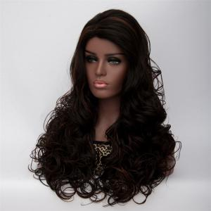 Long Side Parting Curly Black Brown Women's Fashion Synthetic Hair Wig - Black Brown