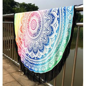 Mandala Lotus Lotus Printed Long Fringe Round Beach Throw - Colormix - One Size