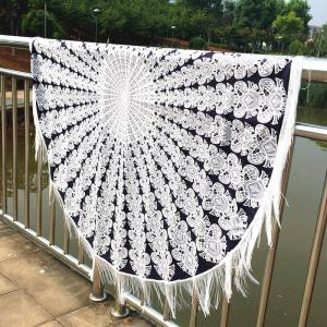 Mandala Printed Tasseled Tablecloth Round Beach Throw - White And Black - W60 Inch * L84 Inch