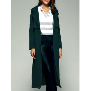 Elegant Belted Flounce Pure Color Maxi Wrap Long Trench Coat - Blackish Green - S