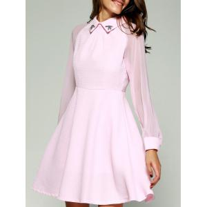 See-Through Beading Skater Short Dress with Sleeves
