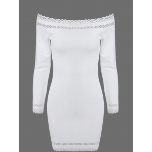 Off Shoulder Mini Long Sleeve Cocktail Bodycon Dress - White - M