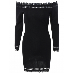 Off Shoulder Mini Long Sleeve Cocktail Bodycon Dress - Black - M