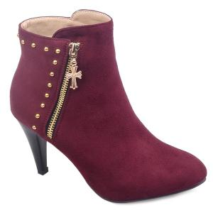 Stylish Rivet and Flock Design Ankle Boots For Women - Wine Red - 42