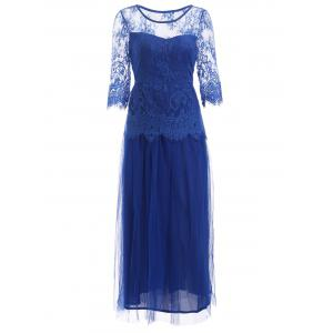Lace Panel Long Prom Wedding Guest Tea Length Dress