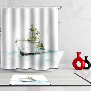 Good Quality Cartoon Steamship Design Waterproof Printed Shower Curtain - White - 57*90cm