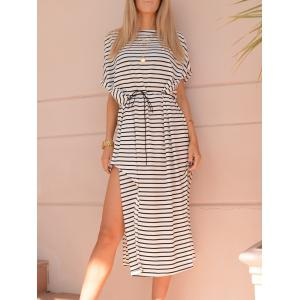 Casual Short Sleeve Striped Asymmetric High Slit Dress