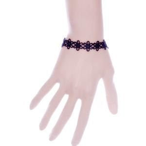 Cut Out Lace Floral Bracelet - Black