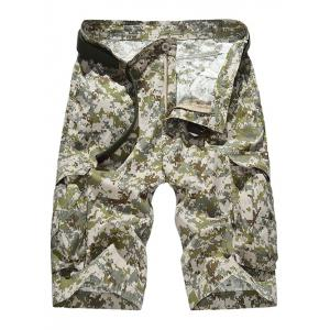 Zipper Fly Straight Leg Camouflage Pattern Pockets Design Shorts For Men