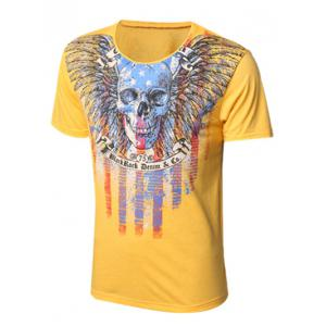 Round Neck Skull and Feather Print Short Sleeve T-Shirt For Men - Yellow - Xl