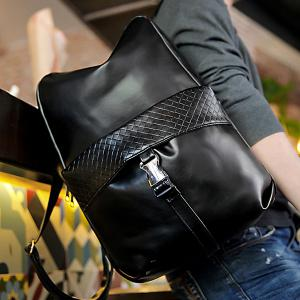 Trendy Solid Colour and Plaid Pattern Design Backpack For Men