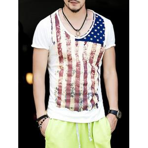 Round Neck Vintage Star and Stripe Print Short Sleeve T-Shirt For Men