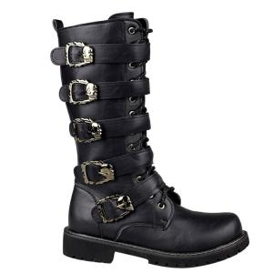 Trendy Black and Buckles Design Boots For Men