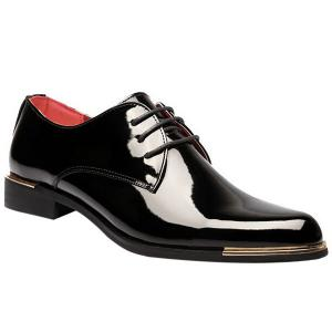 Fashion Patent Leather and Tie Up Design Formal Shoes For Men - Black - 41