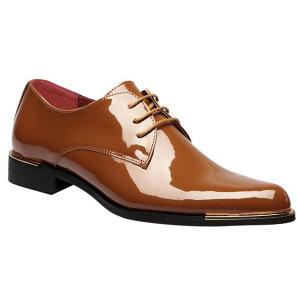 Fashion Patent Leather and Tie Up Design Formal Shoes For Men - Light Brown - 42