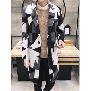 Elegant Geometric Print Lapel Collar Long Sleeve Wool Coat For Men