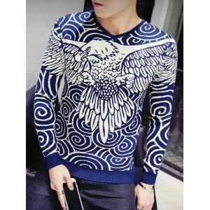 Eagle Swirl Pattern V-Neck Long Sleeve Sweater For Men - Cadetblue - M