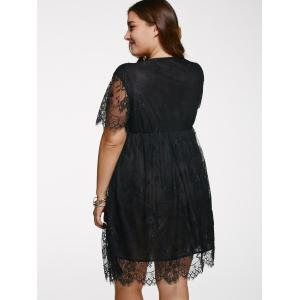 V Neck Plus Size Lace Short Knee Length Dress With Sleeves - BLACK 5XL