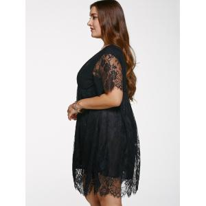 V Neck Plus Size Lace Short Knee Length Dress With Sleeves - BLACK 2XL