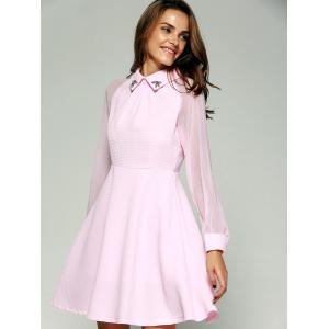 See-Through Beading Skater Short Dress with Sleeves - PINK 2XL