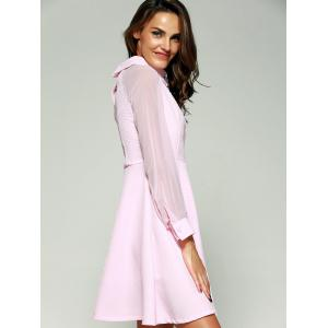 See-Through Beading Skater Short Dress with Sleeves - PINK S