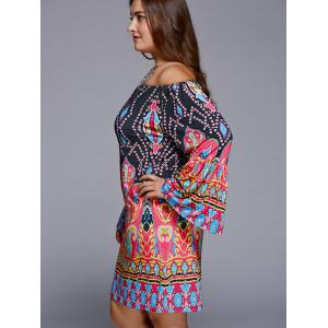 Off-The-Shoulder Plus Size Print Long Sleeve Shift Dress - BLACK 5XL