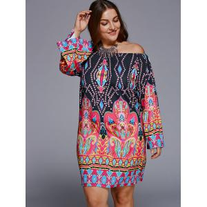Off-The-Shoulder Plus Size Print Long Sleeve Shift Dress -