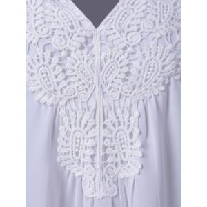 Plus Size Sweet Crochet Spliced Tunic Blouse - WHITE XL
