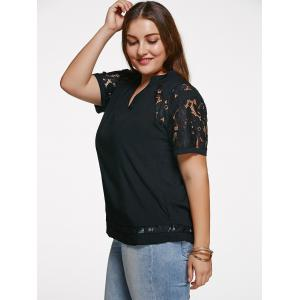 Chic V Neck Lace Splicing Plus Size T-Shirt -