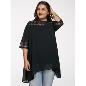 Chic 3/4 Sleeve See-Through Plus Size Blouse - BLACK XL