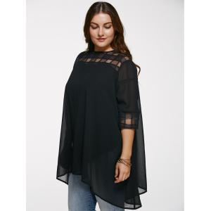 Chic 3/4 Sleeve See-Through Plus Size Blouse - BLACK 5XL