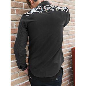 Jewel Printed Splicing Design Turn-Down Collar Long Sleeve Shirt For Men -