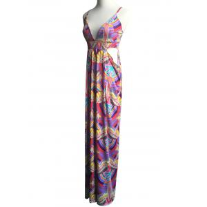 Exotic Colorful Print Hollow Out Strappy Dress -