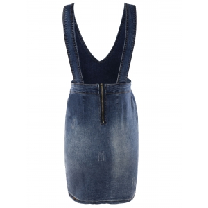 Simple Women's Bleach Wash Slit Denim Suspender Dress -
