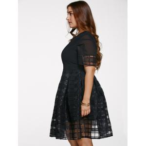 Chic Short Sleeve Plus Size See-Through Dress -