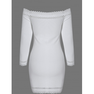 Off Shoulder Mini Long Sleeve Cocktail Bodycon Dress - WHITE L
