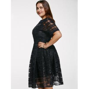 Chic Round Neck Plus Size See-Through Dress -