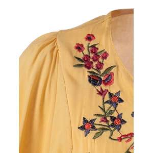 Loose-Fitting Embroidered Short Sleeves Blouse -