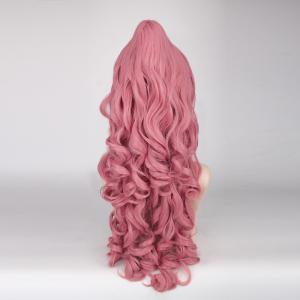 Fluffy Curly Light Pink Synthetic Vocaloid Luka and Ruka Dargon Style Cosplay Wig -