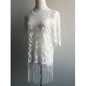 See-Through Tassel Embellished Blouse -