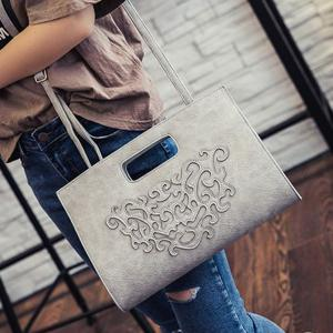 Fashionable Magnetic Closure and Stitching Design Tote Bag For Women - GRAY
