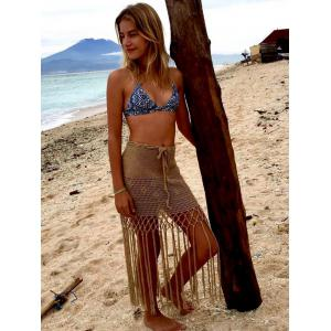 Alluring Hollow Out Fringed Crochet Cover Up Skirt -