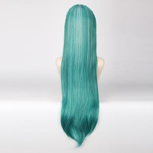 Long With Multicolor Braided Decor Heat Resistant Fiber Vocaloid Miku Knife Style Cosplay Wig - COLORMIX